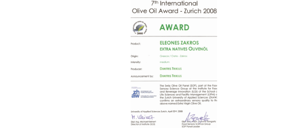 International Olive Oil Award Zurich winner-Eleones Zakros