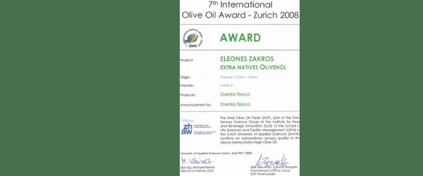 International Olive Oil Award Zurich Gewinner-Eleones Zakros