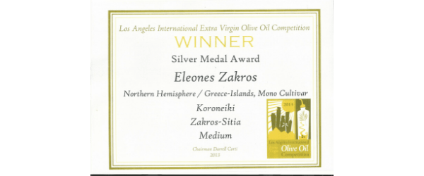 Los Angeles oliveoil competition winner Eleones Zakros