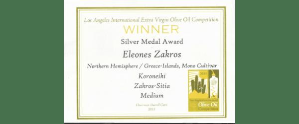 Los Angeles oliveoil competition gewinner Eleones Zakros
