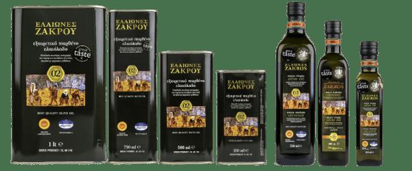 Bidons et bouteilles d'huile d'olive Eleones Zakros de Sitia